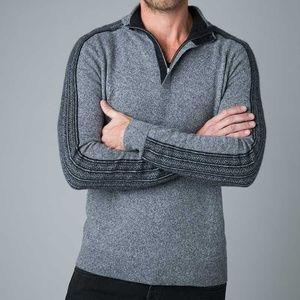 KINROSS Sweaters - QUARTER ZIP JACQUARD SLEEVE MEN'S CASHMERE POLO